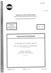 Statistiques des étudiants inscrits dans les établissements universitaires. Enquête détaillée par fiches individuelles, Public, 1981-1982. | FLAMMANG, Béatrice