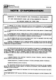 Absences et remplacements des personnels enseignants et non enseignants dans les établissements publics du second degré en 1985-1986 | RADICA, Kristel