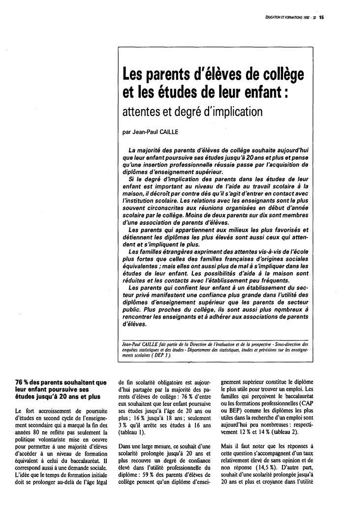 Parents (les) d'élèves de collège et les études de leur enfant : attentes et degré d'implication. | CAILLE, Jean-Paul