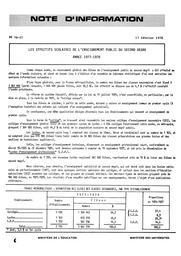 Les effectifs scolaires de l'enseignement public du second degré. Année 1977-1978 | France. Ministère de l'Education nationale (MEN)