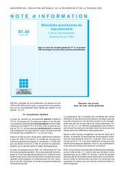 Résultats provisoires du baccalauréat ; France métropolitaine ; session de juin 1997.   RAULIN, Emmanuel