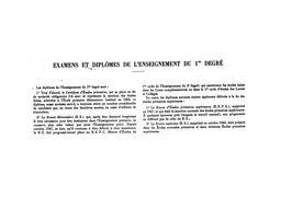 Examens et diplômes de l'enseignement du premier degré, de 1929-30 à 1949-50.   BUS