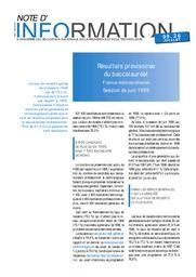 Résultats provisoires du baccalauréat ; France métropolitaine ; session de juin 1999. | SABOULIN, Michel de