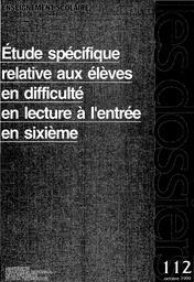 Etude spécifique relative aux élèves en difficulté en lecture à l'entrée en sixième, septembre 1997.   BAKTAVATSALOU, Ravi