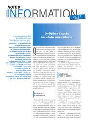 Diplôme (le) d'accès aux études universitaires. | CLAVAL, Bernard