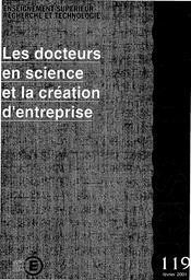 Docteurs (les) en science et la création d'entreprise. | SAUVAGEOT, Claude