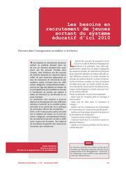 Besoins (les) en recrutement de jeunes sortant du système éducatif d'ici 2010. | SAUVAGEOT, Claude