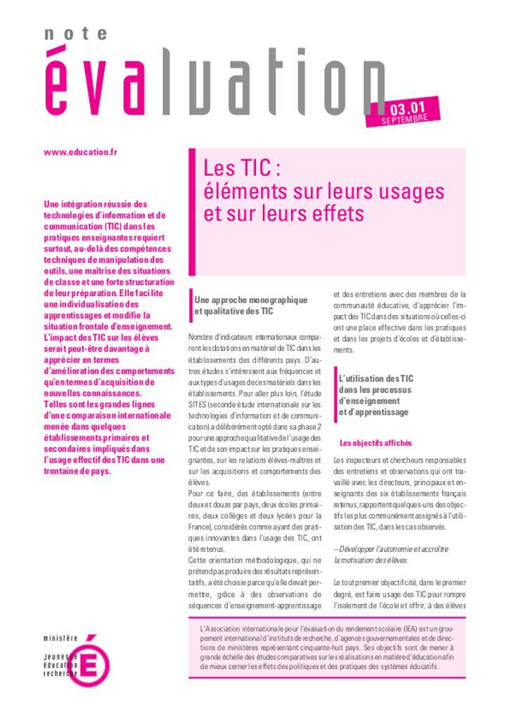 Les TIC : éléments sur leurs usages et sur leurs effets / Patricia Poncet et Catherine Régnier | PONCET, Patricia. Auteur