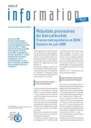 Résultats provisoires du baccalauréat ; France métropolitaine et DOM ; session de juin 2005.   LIAIGRE, Alain