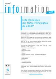Liste thématique des notes d'information de la DEPP : [Année 2009] / Ministère de l'éducation nationale | QUERE, Michel. Directeur de publication