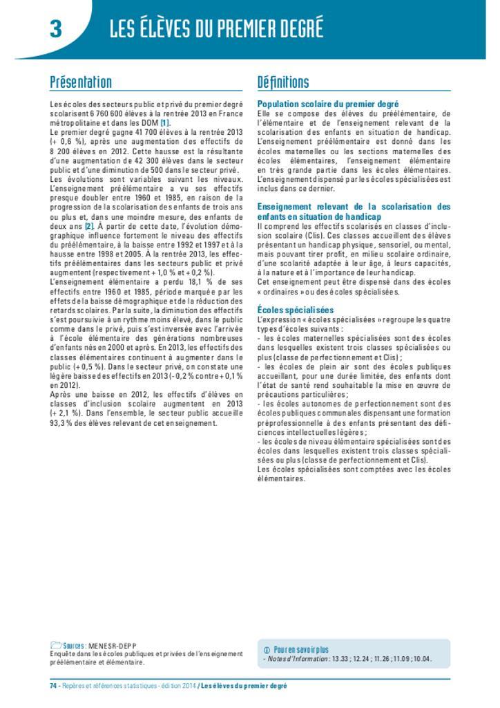 Repères et références statistiques : sur les enseignements, la formation et la recherche : [RERS 2014]. chapitre 3, les Elèves du premier degré / Ministère de l'Education nationale, de l'Enseignement supérieur et de la Recherche. Direction de l'évaluation, de la prospective et de la performance | France. Ministère de l'Education nationale (MEN). Direction de l'évaluation, de la prospective et de la performance (DEPP)