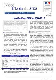 Les effectifs en ESPE en 2016-2017 | MARLAT, Diane