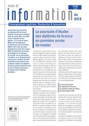La poursuite d'études des diplômés de licence en première année de master / Isabelle Maetz | KABLA-LANGLOIS , Isabelle . Directeur de publication