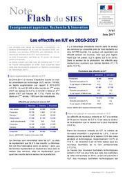 Les effectifs en IUT en 2016-2017 | MARLAT, Diane