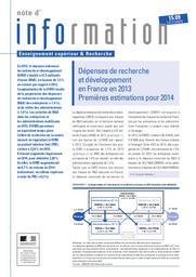 Les dépenses de de recherche et développement en France en 2013. Premières estimations pour 2014 | TESTAS, Anna
