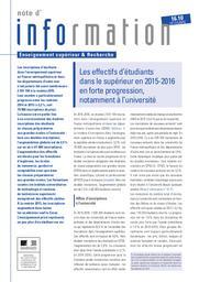 Les effectifs d'étudiants dans le supérieur en 2015-2016 : en forte progression notamment à l'université | LIÈVRE, Agnès