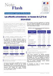 Les effectifs universitaires en hausse de 1,2 % en 2014-2015 | MARLAT, Diane