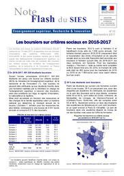 Les boursiers sur critères sociaux en 2016-2017 | LIÈVRE, Agnès