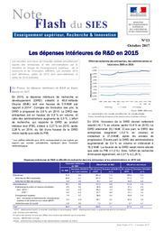 Les dépenses intérieures de R&D en 2015 | ROUSSEL, Philippe
