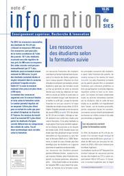 Les ressources des étudiants selon la formation suivie / Agnès Lièvre | KABLA-LANGLOIS , Isabelle . Directeur de publication