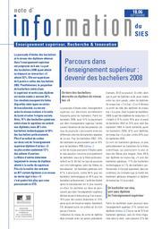 Parcours dans l'enseignement supérieur : devenir des bacheliers 2008 / Hery Papagiorgiou, Juliette Ponceau | KABLA-LANGLOIS , Isabelle . Directeur de publication