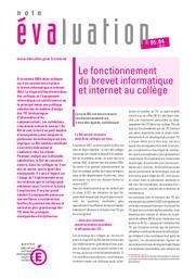 Le fonctionnement du brevet informatique et internet au collège / Régine Gentil, Jean-François Lévy | GENTIL, Régine. Auteur