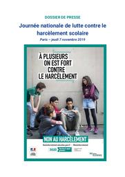 Journée nationale de lutte contre le harcèlement scolaire : Paris – jeudi 7 novembre 2019 / Ministère de l'éducation nationale et de la jeunesse | BLANQUER, Jean-Michel. Directeur de publication