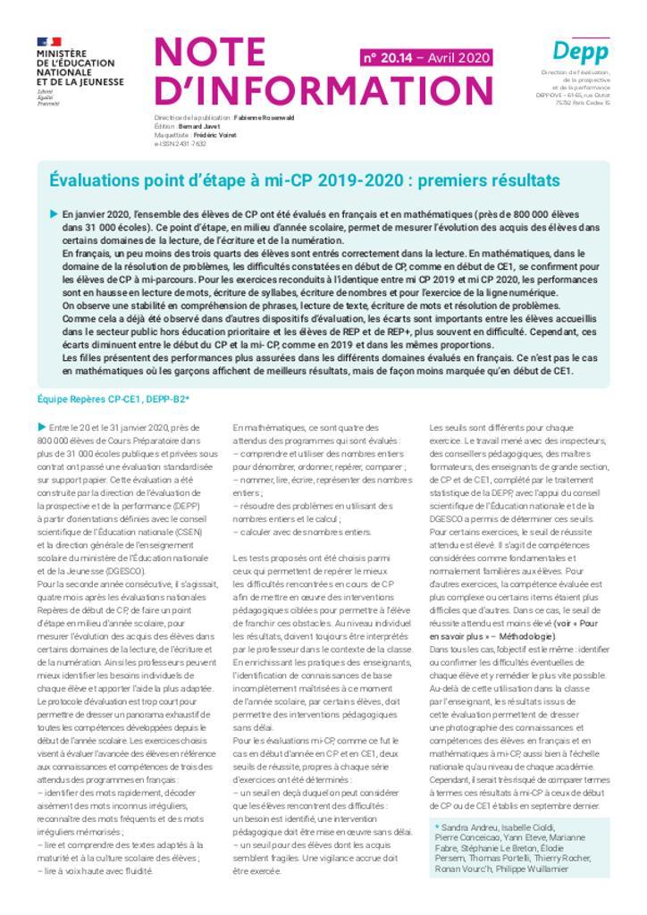 Évaluations point d'étape à mi-CP 2019-2020 : premiers résultats / Équipe Repères CP-CE1 | ANDREU, Sandra. Auteur