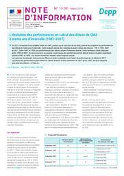 L'évolution des performances en calcul des élèves de CM2 à trente ans d'intervalle (1987-2017) / Léa Chabanon et Jean-Marc Pastor | CHABANON, Léa. Auteur