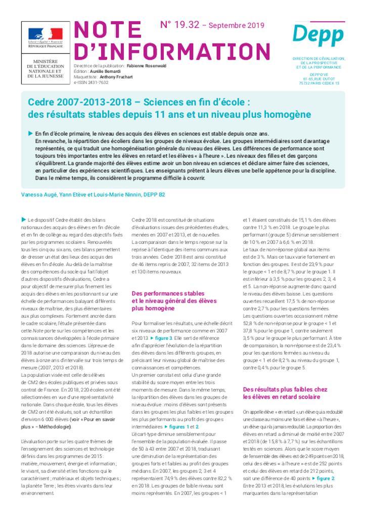 Cedre 2007-2013-2018 – Sciences en fin d'école : des résultats stables depuis 11 ans et un niveau plus homogène / Vanessa Augé, Yann Etève et Louis-Marie Ninnin   AUGE, Vanessa. Auteur