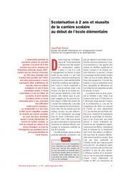 Education & Formations : 60 : juillet-septembre 2001. Chap. 1, Scolarisation à 2 ans et réussite de la carrière scolaire au début de l'école élémentaire / Jean-Paul Caille   CAILLE, Jean-Paul. Auteur